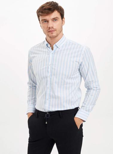 DeFacto Çizgili Modern Fit Gömlek Mavi
